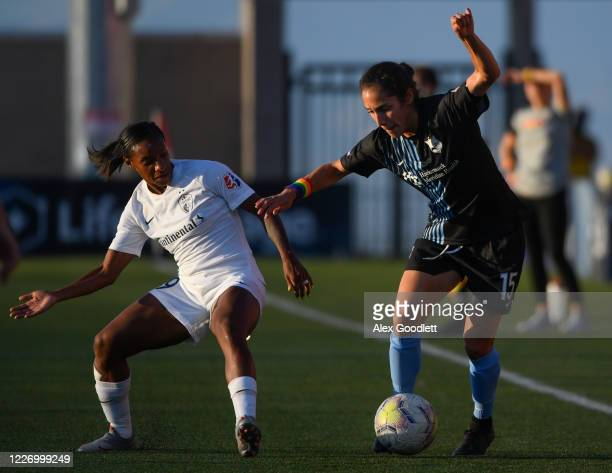 Sabrina Flores of Sky Blue FC attempts to drive around Crystal Dunn of North Carolina Courage during a game on day 8 of the NWSL Challenge Cup at...