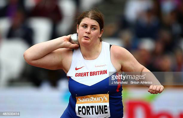 Sabrina Fortune of Great Britain competes in the Women's Shot Put F20 during the IPC Grand Prix Final on Day Three of the Sainsbury's Anniversary...