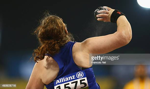 Sabrina Fortune of Great Britain competes in the women's shot put F20 final during the Evening Session on Day Two of the IPC Athletics World...