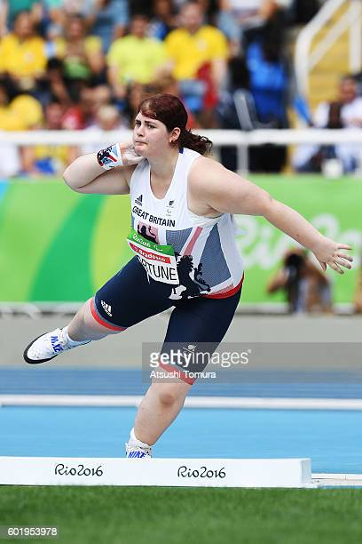 Sabrina Fortune of Great Britain competes in the women's shot put F20 on day 3 of the Rio 2016 Paralympic Games at the Olympic stadium on September...