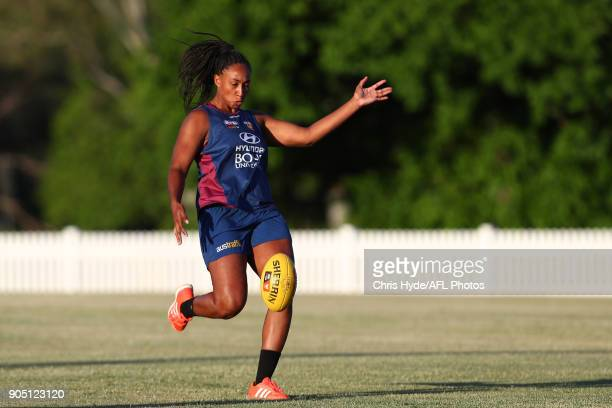 Sabrina FrederickTraub kicks during a Brisbane Lions AFL training session at Leyshon Park on January 15 2018 in Brisbane Australia