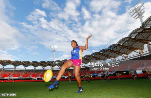 Sabrina FrederickTraub kicks the ball during the Brisbane Lions Women's AFL training session on March 24 2017 in Gold Coast Australia