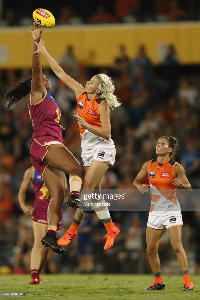 Sabrina Frederick-Traub of the Lions and Renee Tomkins of the Giants compete for the ball during the round seven AFLW match between the Greater Western Sydney Giants and the Brisbane Lions at Blacktown International Sportspark on March 16, 2018 in Sydney, Australia.