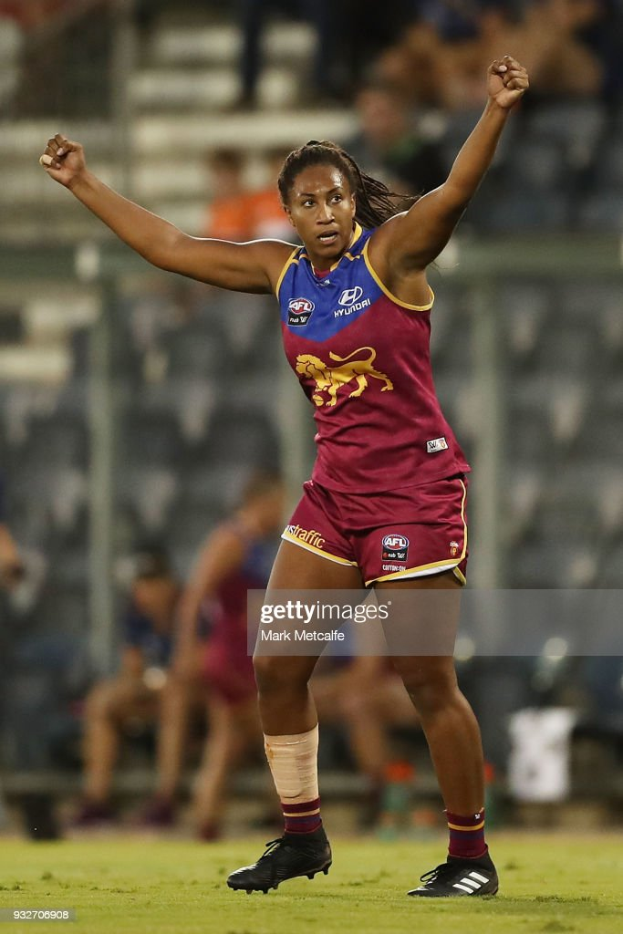 Sabrina Frederick-Traub of the Lions celebrates scoring a goal during the round seven AFLW match between the Greater Western Sydney Giants and the Brisbane Lions at Blacktown International Sportspark on March 16, 2018 in Sydney, Australia.