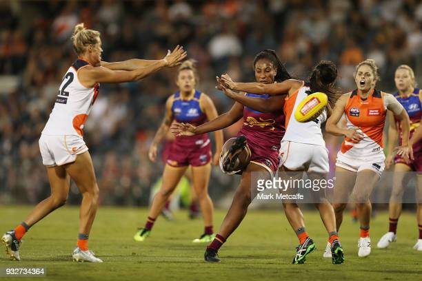 Sabrina FrederickTraub of the Lions kicks a goal during the round seven AFLW match between the Greater Western Sydney Giants and the Brisbane Lions...