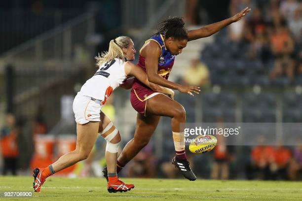 Sabrina FrederickTraub of the Lions kicks ahead during the round seven AFLW match between the Greater Western Sydney Giants and the Brisbane Lions at...
