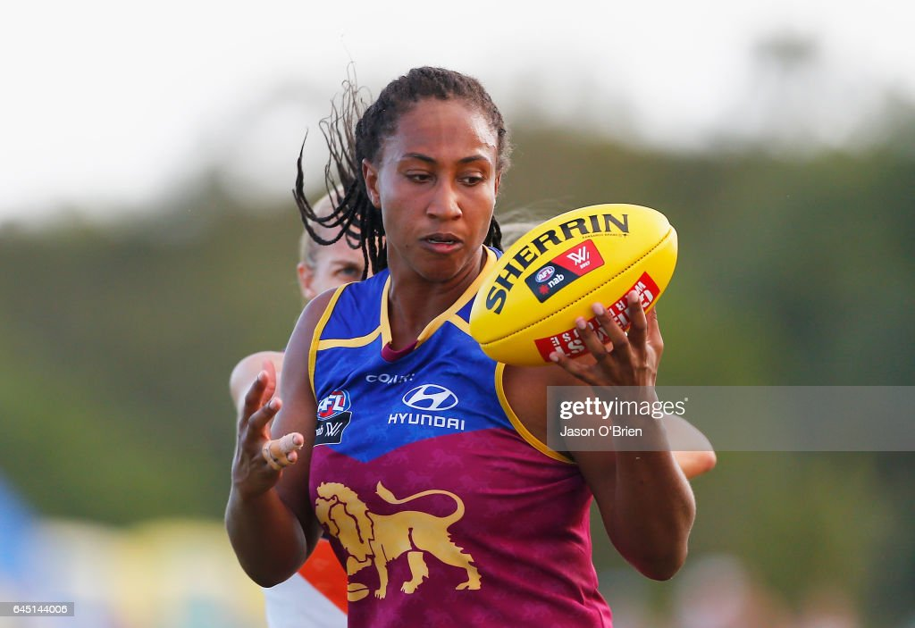 Sabrina Frederick-Traub of the Lions takes a mark during the round four Women's AFL match between the Brisbane Lions and the Greater Western Sydney Giants at South Pine Complex on February 25, 2017 in Brisbane, Australia.
