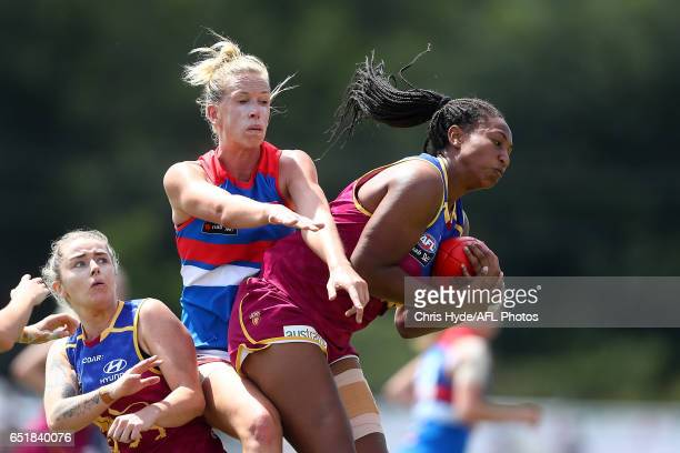 Sabrina Frederick-Traub of the Lions takes a mark during the round six AFL Women's match between the Brisbane Lions and the Western Bulldogs at South...
