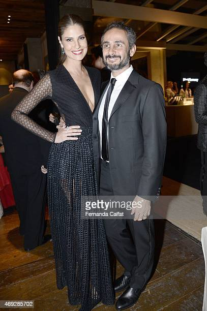 Sabrina Gasperin and Ara Vartanian attend the 5th Annual amfAR Inspiration Gala at the home of Dinho Diniz on April 10 2015 in Sao Paulo Brazil