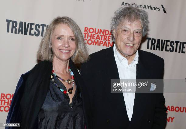 Sabrina Guinness and husband Playwright Tom Stoppard pose at the opening night of Tom Stoppard's play Travesties on Broadway at The American Airlines...