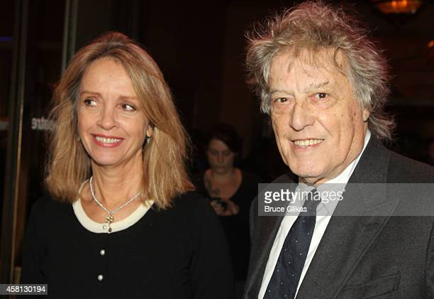 Sabrina Guinness and husband Tom Stoppard pose at The Opening Night of The Real Thing on Broadway at American Airlines Theatre on October 30 2014 in...