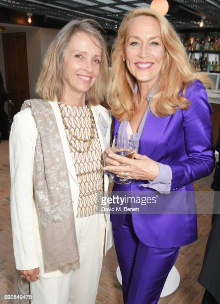 Sabrina Guinness and Jerry Hall attend the launch of new book Climate Of Hope by Michael Bloomberg and Carl Pope at The Ned on June 5 2017 in London...