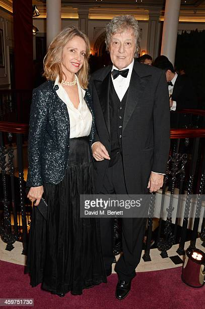 Sabrina Guinness and Sir Tom Stoppard attend a champagne reception at the 60th London Evening Standard Theatre Awards at the London Palladium on...