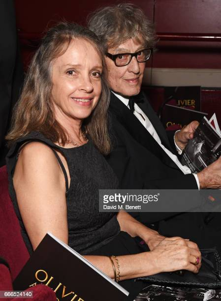 Sabrina Guinness and Sir Tom Stoppard attend The Olivier Awards 2017 at Royal Albert Hall on April 9 2017 in London England