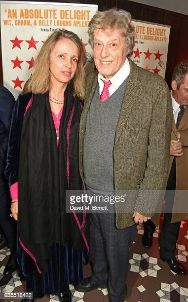 Sabrina Guinness and Sir Tom Stoppard attend the press night after party for Travesties at 100 Wardour St on February 15 2017 in London England