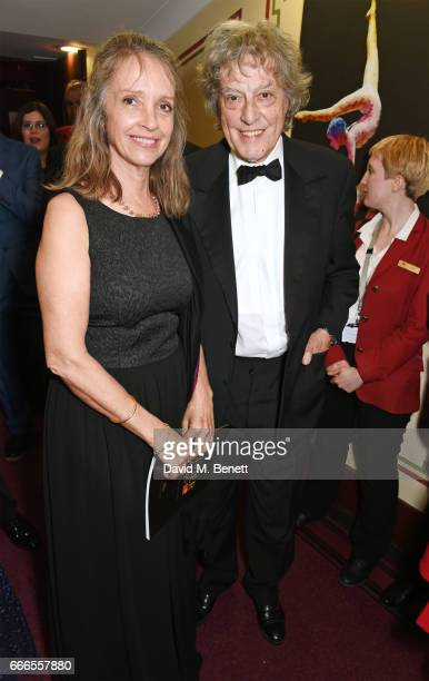 Sabrina Guinness and Sir Tom Stoppard pose in the winners room at The Olivier Awards 2017 at Royal Albert Hall on April 9 2017 in London England