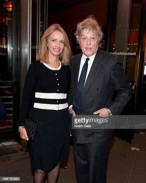 Sabrina Guinness and Tom Stoppard attend the opening night of The Real Thing on Broadway at American Airlines Theatre on October 30 2014 in New York...