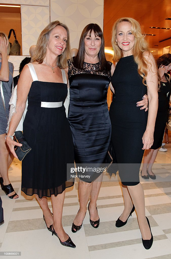 Sabrina Guinness, Anjelica Huston and Jerry Hall attend the launch of the Louis Vuitton Bond Street Maison on May 25, 2010 in London, England.