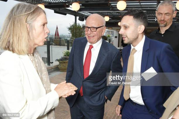 Sabrina Guinness Rupert Murdoch and Dynamo attend the launch of new book Climate Of Hope by Michael Bloomberg and Carl Pope at The Ned on June 5 2017...
