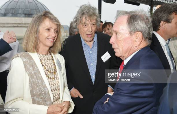 Sabrina Guinness Sir Tom Stoppard and Michael Bloomberg attend the launch of new book Climate Of Hope by Michael Bloomberg and Carl Pope at The Ned...