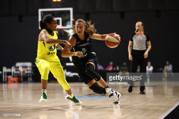 Sabrina Ionescu of New York Liberty handles the ball against the Seattle Storm on July 25, 2020 at Feld Entertainment Center in Palmetto, Florida....