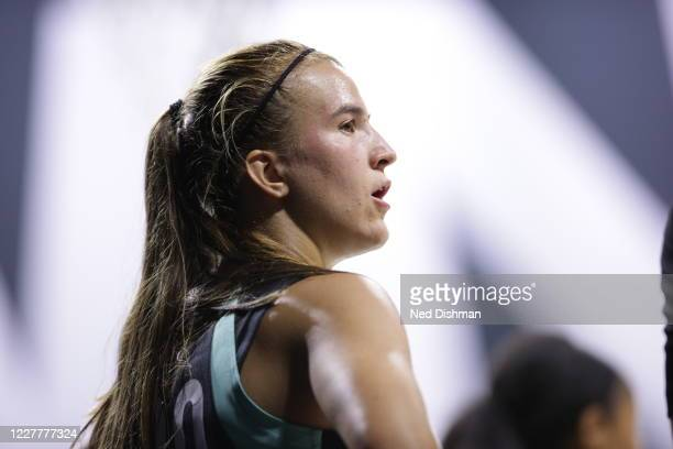 Sabrina Ionescu of New York Liberty looks on during the game against the Seattle Storm on July 25, 2020 at Feld Entertainment Center in Palmetto,...