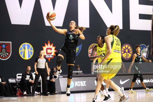 Sabrina Ionescu of New York Liberty shoots the ball against the Seattle Storm on July 25, 2020 at Feld Entertainment Center in Palmetto, Florida....