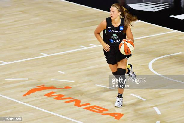 Sabrina Ionescu of the New York Liberty brings the ball in during the second half of a game against the Dallas Wings at Feld Entertainment Center on...