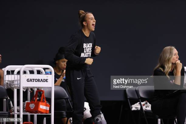 Sabrina Ionescu of the New York Liberty celebrates during the game against the Phoenix Mercury on August 2, 2020 at Feld Entertainment Center in...