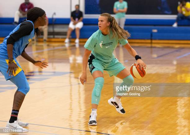 Sabrina Ionescu of the New York Liberty dribbles the ball during a scrimmage against the Chicago Sky on July 22, 2020 at IMG Academy in Bradenton,...
