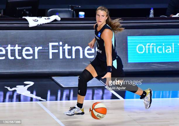 Sabrina Ionescu of the New York Liberty dribbles up the court during the second half of a game against the Dallas Wings at Feld Entertainment Center...