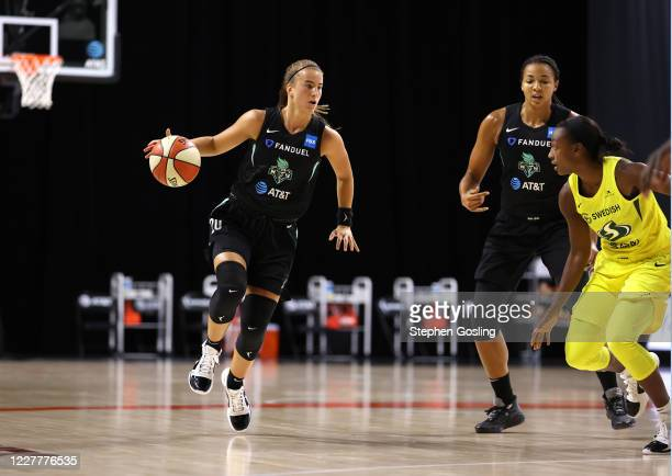 Sabrina Ionescu of the New York Liberty handles the ball against the Seattle Storm on July 25, 2020 at Feld Entertainment Center in Palmetto,...