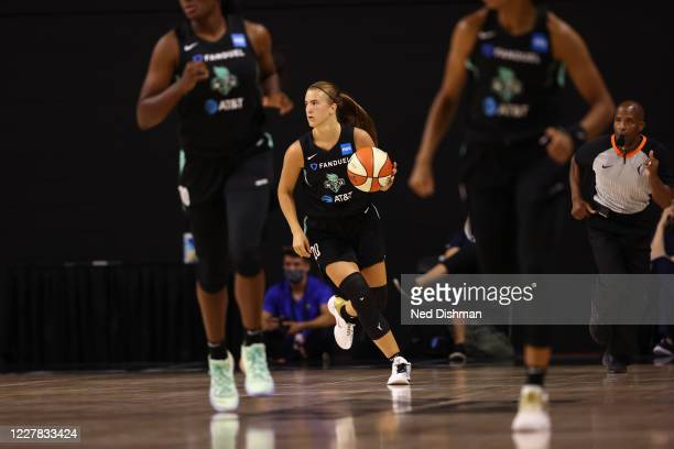 Sabrina Ionescu of the New York Liberty handles the ball against the Dallas Wings on July 29, 2020 at Feld Entertainment Center in Palmetto, Florida....