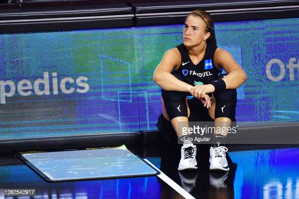 Sabrina Ionescu of the New York Liberty looks on from the sideline during the second half of a game against the Dallas Wings at Feld Entertainment...