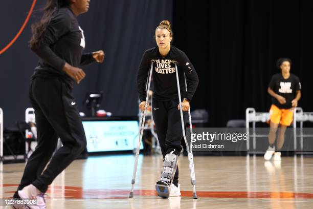 Sabrina Ionescu of the New York Liberty looks on prior to a game against the Phoenix Mercury on August 2, 2020 at Feld Entertainment Center in...