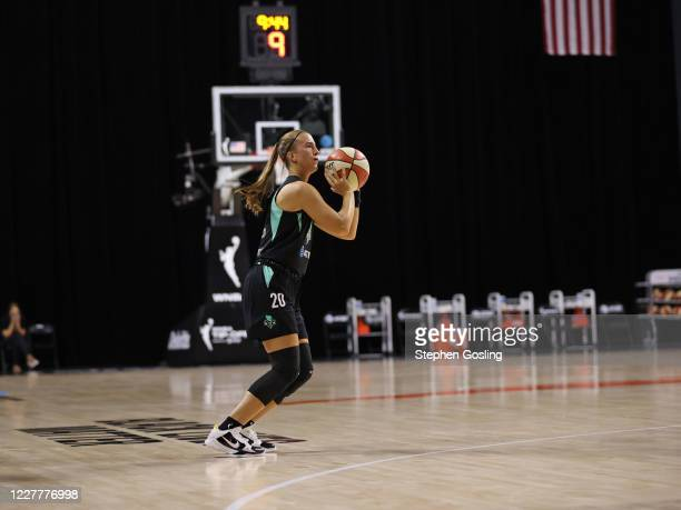 Sabrina Ionescu of the New York Liberty shoots a three pointer against the Seattle Storm on July 25, 2020 at Feld Entertainment Center in Palmetto,...