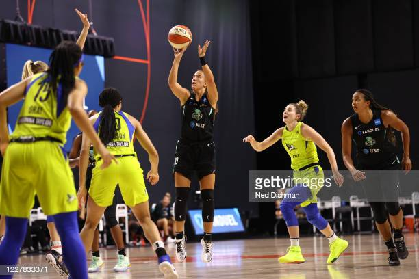 Sabrina Ionescu of the New York Liberty shoots the ball against the Dallas Wings on July 29, 2020 at Feld Entertainment Center in Palmetto, Florida....