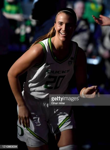 Sabrina Ionescu of the Oregon Ducks is introduced before playing in the Pac12 Conference women's basketball tournament quarterfinals against the Utah...