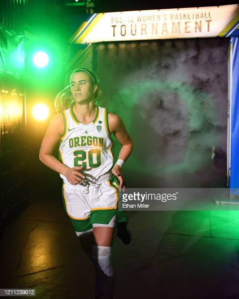 Sabrina Ionescu of the Oregon Ducks is introduced before the championship game of the Pac12 Conference women's basketball tournament against the...