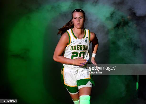 Sabrina Ionescu of the Oregon Ducks is introduced before the championship game of the Pac-12 Conference women's basketball tournament against the...