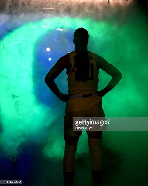 Sabrina Ionescu of the Oregon Ducks waits to be introduced before a semifinal game of the Pac-12 Conference women's basketball tournament against the...