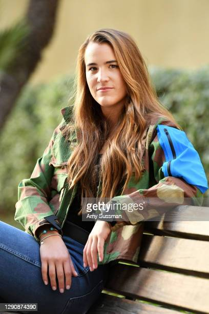 Sabrina Ionescu poses for a portrait on December 08, 2020 in Los Angeles, California.