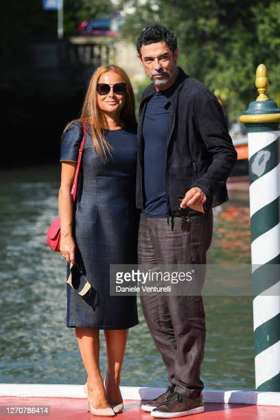 Sabrina Knaflitz and Alessandro Gassmann are seen arriving at the Excelsior during the 77th Venice Film Festival on September 05, 2020 in Venice,...