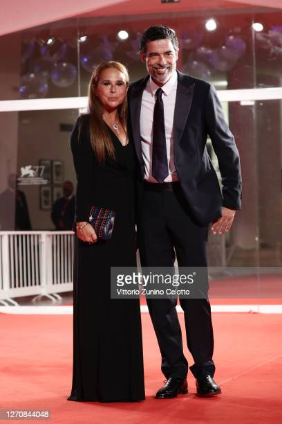 "Sabrina Knaflitz and Alessandro Gassmann walk the red carpet ahead of the movie ""Mandibules"" at the 77th Venice Film Festival on September 05, 2020..."