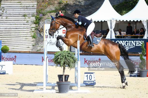 Sabrina Kuhlmann-Schutz OF GERMANY riding Acodetto's Champ during the Jumping Longines Crans-Montana at Crans-sur-Sierre on July 12, 2019 in...