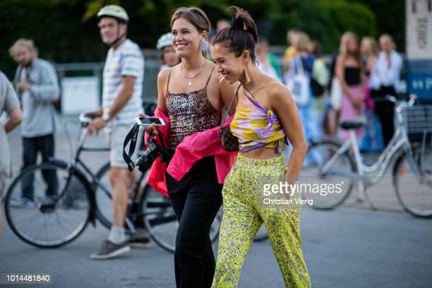Sabrina Meijer and Nicole Huisman seen outside Saks Potts during the Copenhagen Fashion Week Spring/Summer 2019 on August 9, 2018 in Copenhagen,...