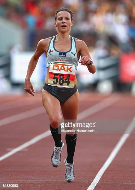 Sabrina Mockenhaup of Germany wins the Women 5000m Final on day one of the German National Athletics Championships at the easyCredit stadium on July...