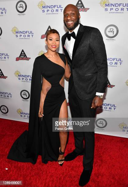 Sabrina Parr and Lamar Odom attend 2020 Retired Player's Ball at The Westside Warehouse on December 04, 2020 in Atlanta, Georgia.