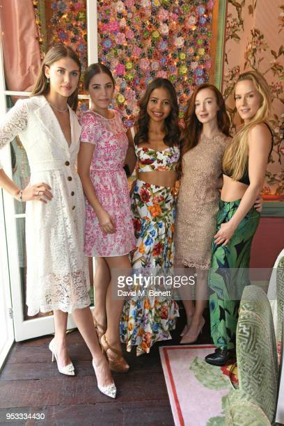 Lady Sabrina Percy Amber Le Bon Viscountess Emma Weymouth Olivia Grant and Hum Fleming attend the launch of BeeBazaarcouk supported by PerrierJouet...