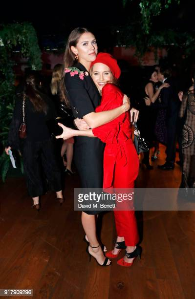 Sabrina Percy and Tess Ward attend a Valentine's dinner at The Living Room Champagne and Cocktail Bar by PerrierJouet at Restaurant Ours on February...